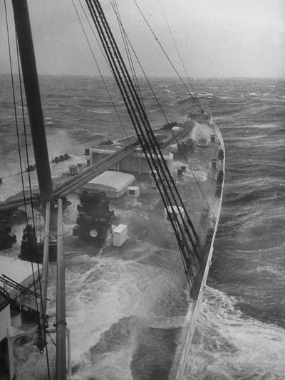 Wave Breaking over Deck of Liner Queen Elizabeth During Severe Storm on North Atlantic Crossing-Alfred Eisenstaedt-Photographic Print