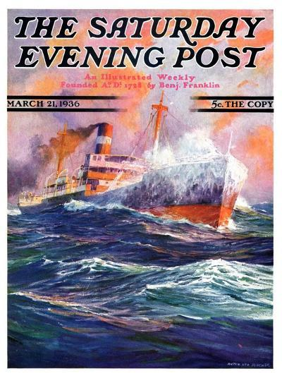 """""""Wave Breaks over Steamer,"""" Saturday Evening Post Cover, March 21, 1936-Anton Otto Fischer-Giclee Print"""