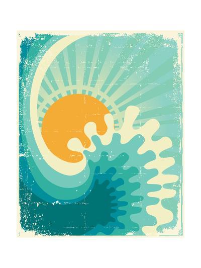 Wave In Ocean.Water Nature Background With Sun.Vintage-GeraKTV-Art Print