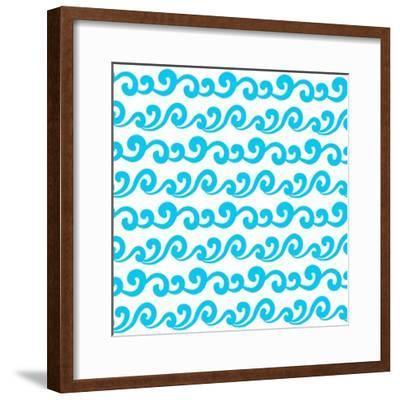 Wave Seamless Pattern- Devi108-Framed Premium Giclee Print