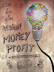 Picture Of Huge Mosaic Light Bulb On Brown Wall Next To Written Down Business Plan by Wavebreak Media Ltd