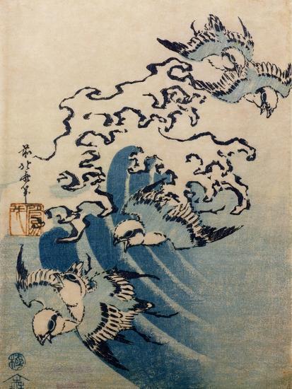 Waves and Birds, circa 1825-Katsushika Hokusai-Giclee Print