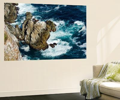 Waves and Foam at the Base of an Ocean Cliff-Jason Edwards-Wall Mural