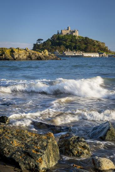 Waves Below Island of St Michael's Mount, Marazion, Cornwall, England-Brian Jannsen-Photographic Print
