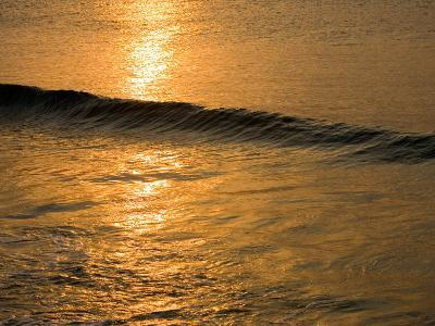 Waves Break at Sunset Along the Waterfront, Cozumel, Mexico-Michael S^ Lewis-Photographic Print