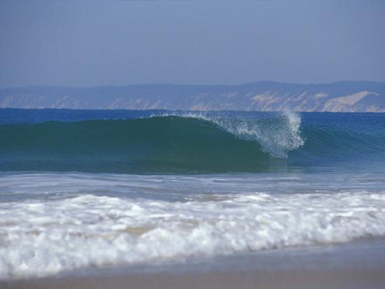 Waves Break on a Pristine Sandy Beach with Cliffs in the Background, Australia-Jason Edwards-Photographic Print