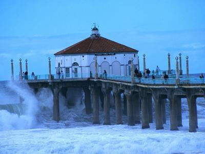 Waves Breaking into the Pier at Manhattan Beach-Christina Lease-Photographic Print