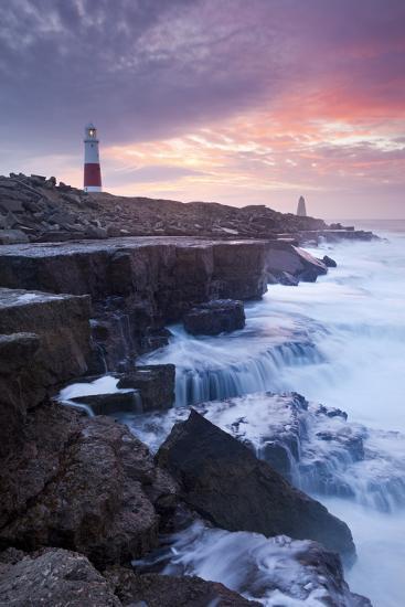 Waves Crash Against the Limestone Ledges Near the Lighthouse at Portland Bill, Dorset, England-Adam Burton-Photographic Print