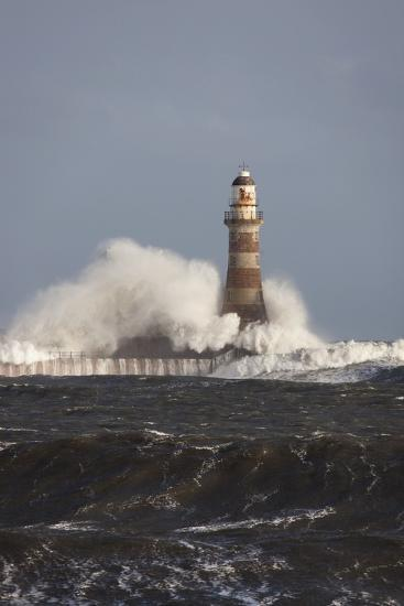 Waves Crashing Against a Lighthouse; Sunderland, Tyne and Wear, England-Design Pics Inc-Photographic Print