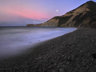 Waves Crashing at Morro Beach During a Storm at Moonrise-Raul Touzon-Photographic Print