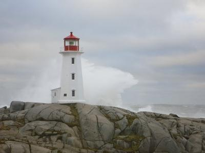 Waves Crashing into the Peggy's Cove Lightouse During Hurricane Noel-Mike Theiss-Photographic Print