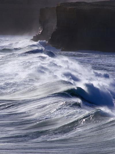 Waves Crashing on Cliffs, Port Campbell National Park, Australia-Rodney Hyett-Photographic Print
