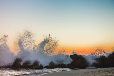 Waves Crashing on Rocky Beach at Sunset-Markus Henttonen-Photographic Print