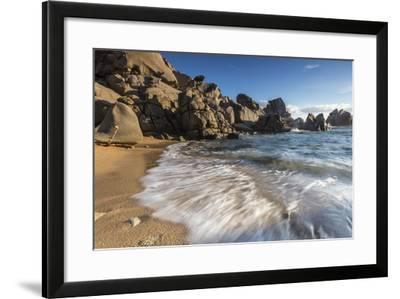 Waves crashing on the sandy beach framed by cliffs, Capo Testa, Santa Teresa di Gallura, Italy-Roberto Moiola-Framed Photographic Print