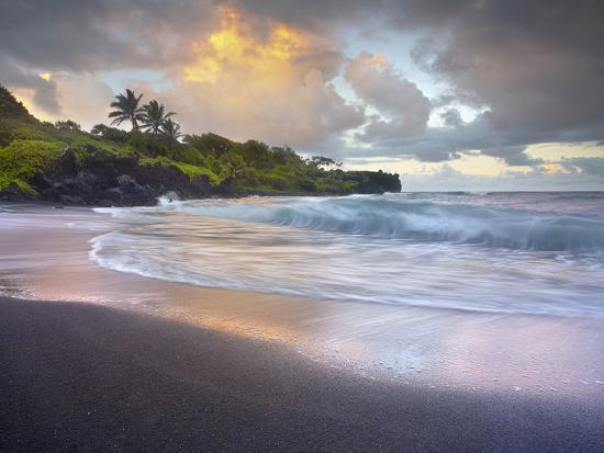 Waves Crashing onto Waianapanapa Black Sand Beach Near Hana, Maui, Hawaii,  USA Photographic Print by Patrick Smith | Art com