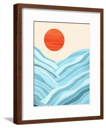 Waves Like Mountains-Modern Tropical-Framed Art Print
