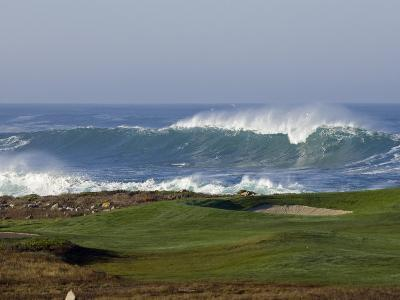 Waves Off Point Joe and Golf Course Green on Seventeen Mile Drive-Rich Reid-Photographic Print