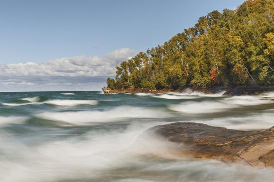Waves on Lake Superior in fall, Pictured Rocks National Lakeshore, Michigan.-Adam Jones-Premium Photographic Print