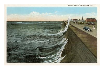 Waves on Seawall, Galveston, Texas--Art Print