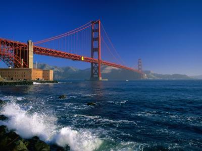 Waves Pound Fort Point Beneath the Golden Gate Bridge, San Francisco, California, USA-David Tomlinson-Photographic Print