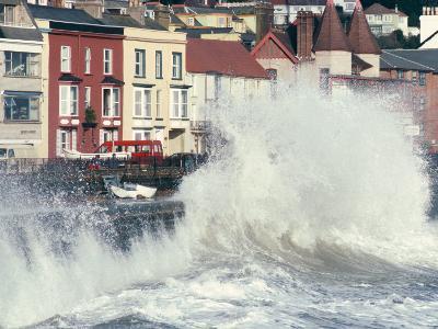 Waves Pounding Sea Wall and Rail Track in Storm, Dawlish, Devon, England, United Kingdom-Ian Griffiths-Photographic Print