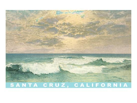 Waves under Mottled Sky, Santa Cruz, California--Art Print