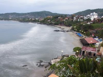 Waves Washing on the Beach in Zihuatanejo Bay Viewed from a Hotel-Rich Reid-Photographic Print