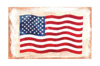 Waving American Flag Painted onto a Piece of Wood--Art Print