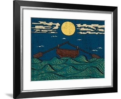 Wavy Sea Water Landscape Depicting Boat with Paddles or Oars down Sky Birds Clouds Moon Etching Ill-Drug Naroda-Framed Art Print