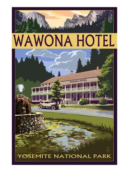 Wawona Hotel - Yosemite National Park - California-Lantern Press-Art Print