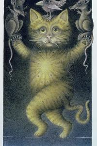 Cat on a Tightrope, Balancing with Bird and Mice by Wayne Anderson