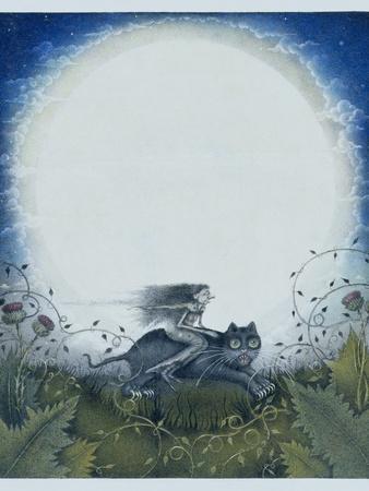 Scottish Witch on a Black Cat
