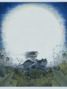 Scottish Witch on a Black Cat by Wayne Anderson