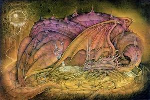 Sleeping Dragon on Gold Hoard by Wayne Anderson