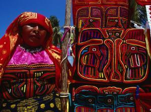 Kuna Indian Woman and Hand-Stitched Applique Textile (Mola), Panama by Wayne Walton