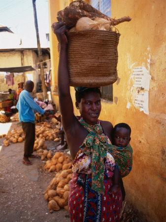 Mother Carrying Baby and Basket, Mombasa, Kenya