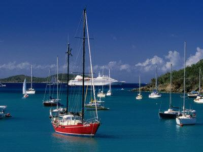 Sailing Ships and Cruise Ship in Harbour, Port Elizabeth, St. Vincent & the Grenadines