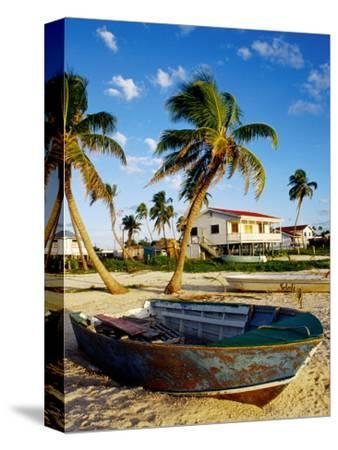 Skiff on Coral Beach Sand, Belize