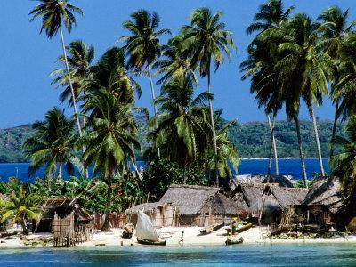 Tropical Island Village on Beach, Panama
