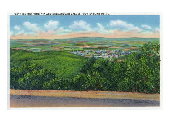 Waynesboro, Virginia - Aerial View of the Town and Shenandoah Valley from Skyline Drive, c.1956-Lantern Press-Art Print