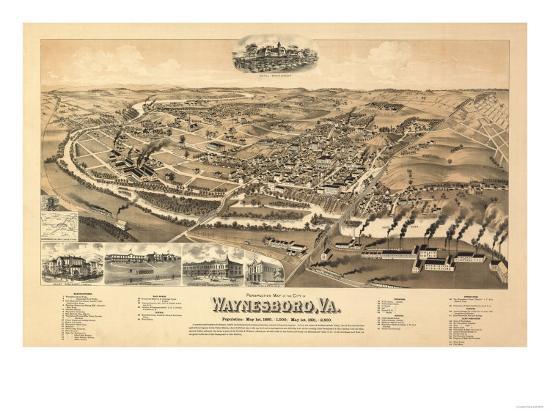 Waynesboro, Virginia - Panoramic Map-Lantern Press-Art Print