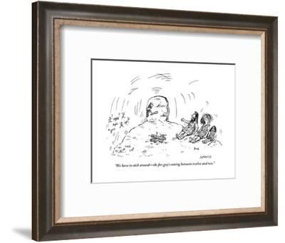 """""""We have to stick around?the fire guy's coming between twelve and two."""" - New Yorker Cartoon-David Sipress-Framed Premium Giclee Print"""