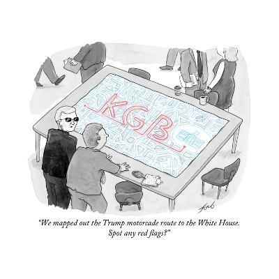 """""""We mapped out the Trump motorcade route to the White House."""" - Cartoon-Tom Toro-Premium Giclee Print"""