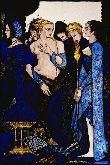 """""""We Named Lucrezia Crivelli and Titian's Lady with Amber Belly"""" Illustration by Harry Clarke from…-Harry Clarke-Giclee Print"""