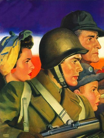 """""""We're All Important Now,""""January 1, 1943-Andrew Loomis-Giclee Print"""