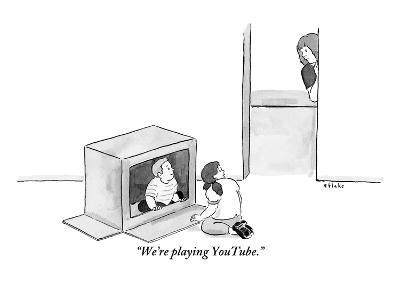 """We're playing YouTube."" - New Yorker Cartoon-Emily Flake-Premium Giclee Print"