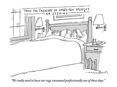 """""""We really need to have our rugs vacuumed professionally one of these days - New Yorker Cartoon-Michael Crawford-Premium Giclee Print"""