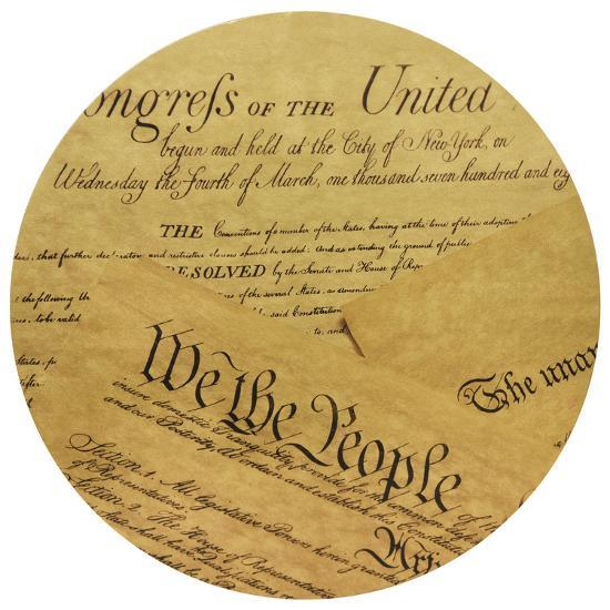 We The People - Circular Gold Canvas Giclee Printed on 2 - Wood Stretcher Wall Art--Alternative Wall Decor