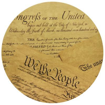 We The People - Circular Gold Canvas Giclee Printed on 2 - Wood Stretcher Wall Art