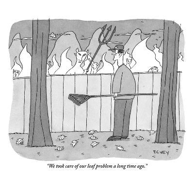 """We took care of our leaf problem a long time ago."" - New Yorker Cartoon-Peter C. Vey-Premium Giclee Print"